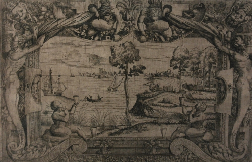 frédéric tison,photographie, Maître I♀V,Vue d'une baie avec un arbre central dans un cadre ornemental