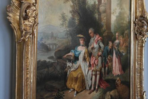 Goethehaus 2 - tableau dans le salon de musique -Conrad Seekatz - famille Goethe dans un paysage - JCaspar-Catharina Elizabeth - JWG-Cornelia .jpg